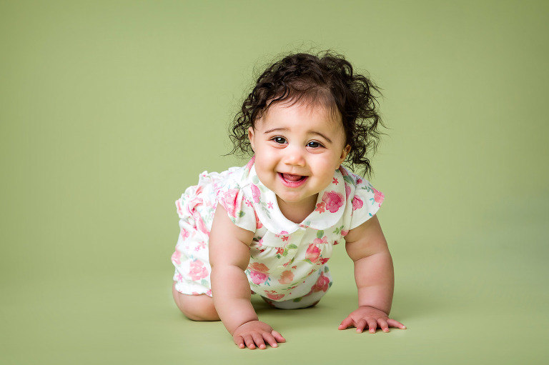 Cute happy baby photographers Sussex crawling baby studio photos