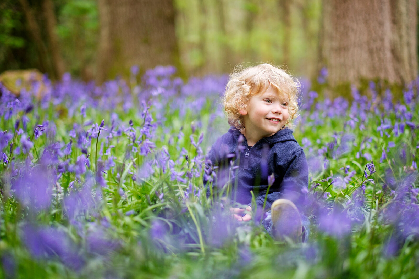 Spring mini portraits shoot in bluebells Sussex